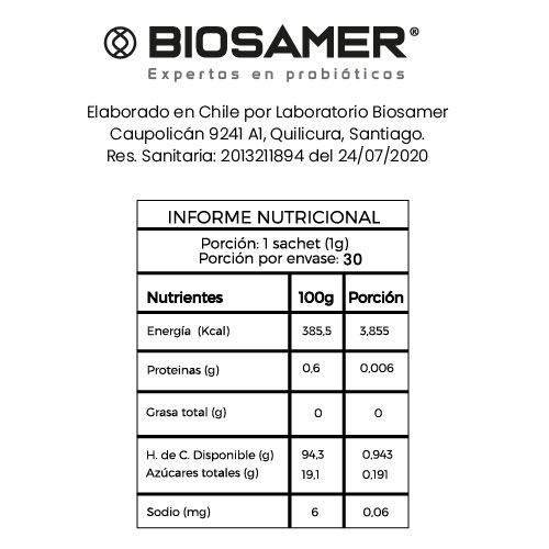 Tabla nutricional Probio defense