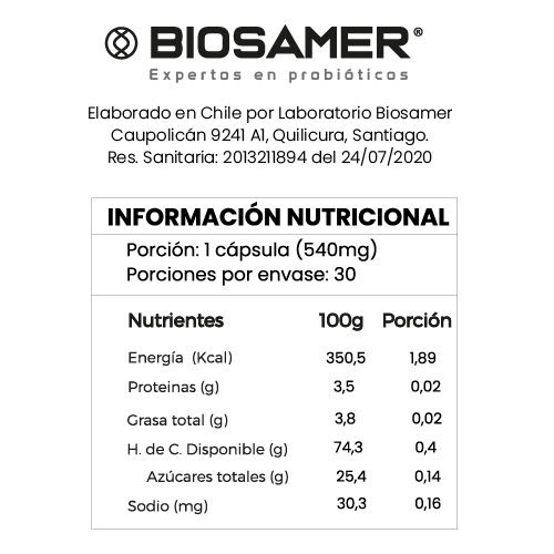 Tabla nutricional probioseries woman